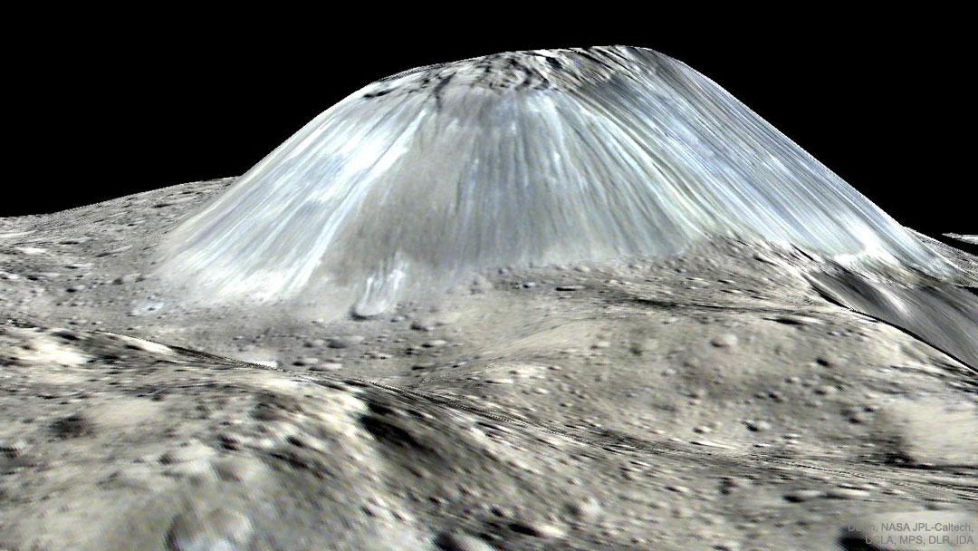 Le mont Ahuna sur l'astéroïde Cérès