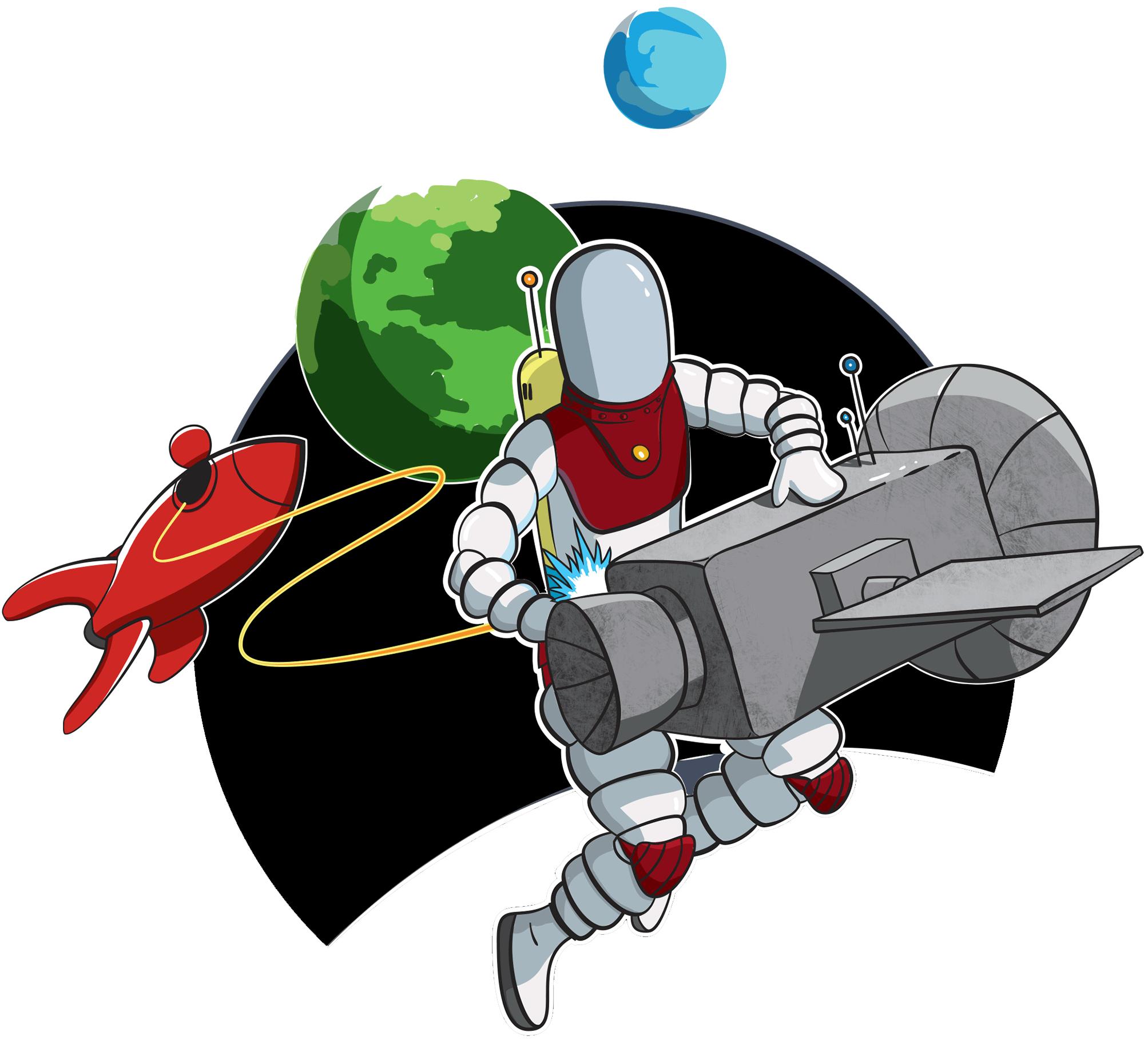 spaceman servicing a satellite