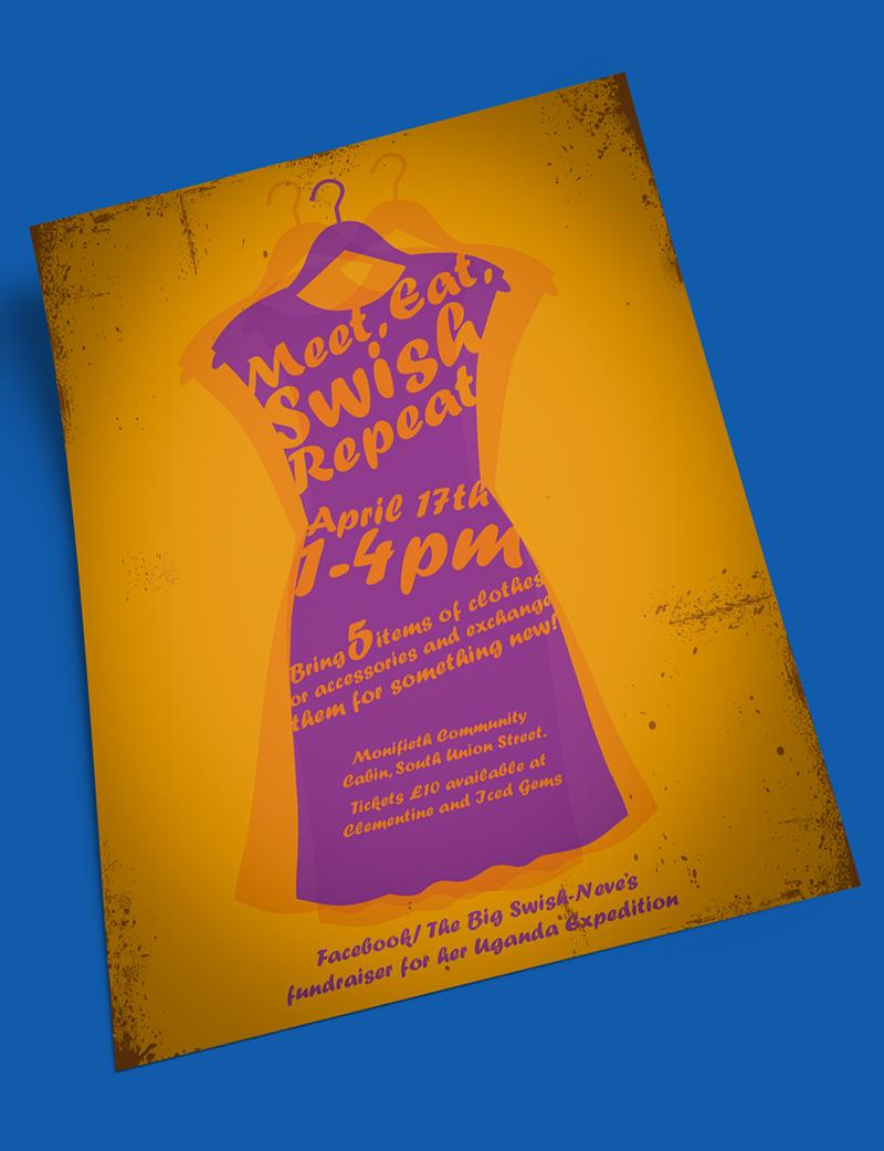 the big swish fundraising poster orange