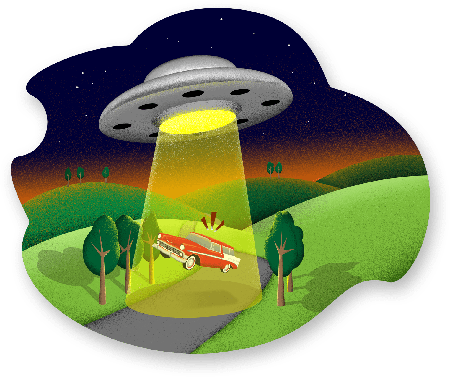 a ufo beaning up a car