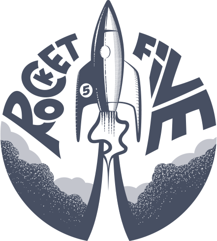rocket five logo blue