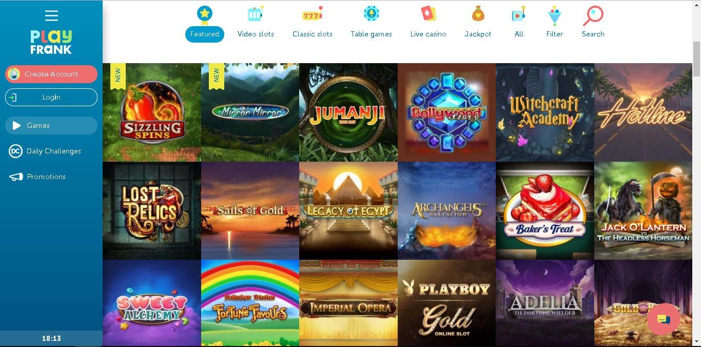 playfrank casino slots