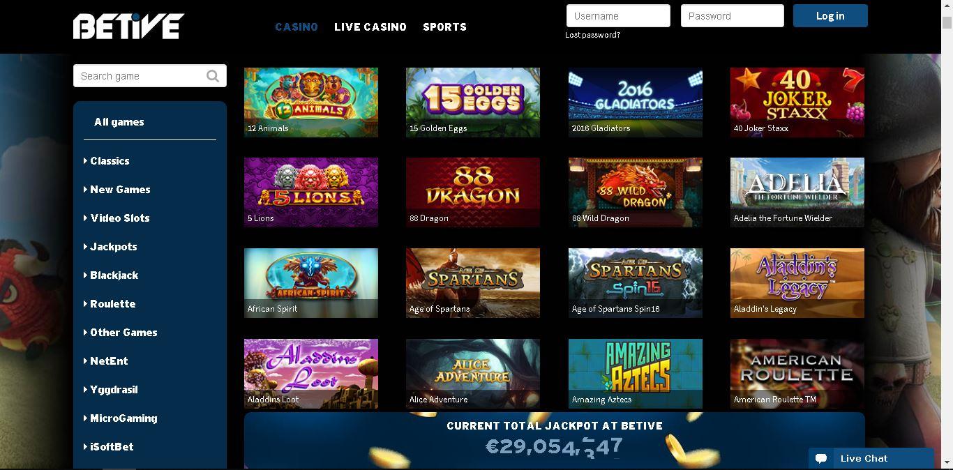 betive casino slots