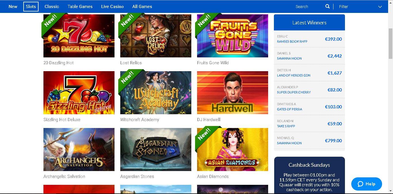 quasar casino slots