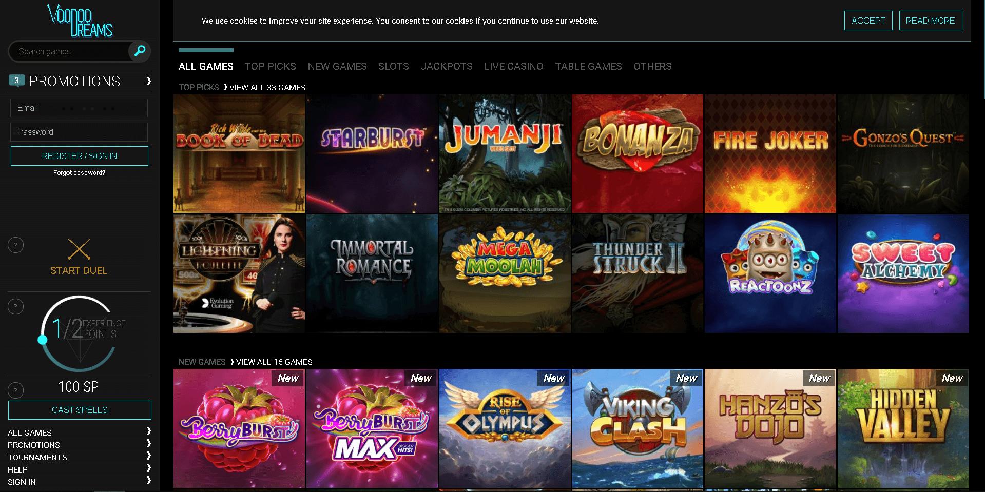 voodoo dreams casino slots