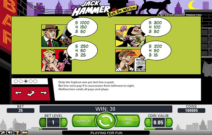 Jack Hammer slot paytable