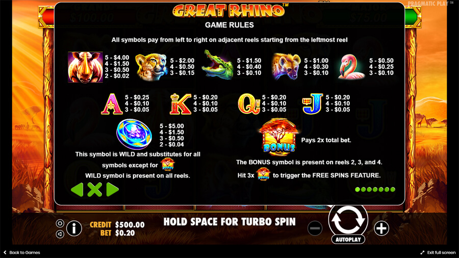 great rhino slot paytable