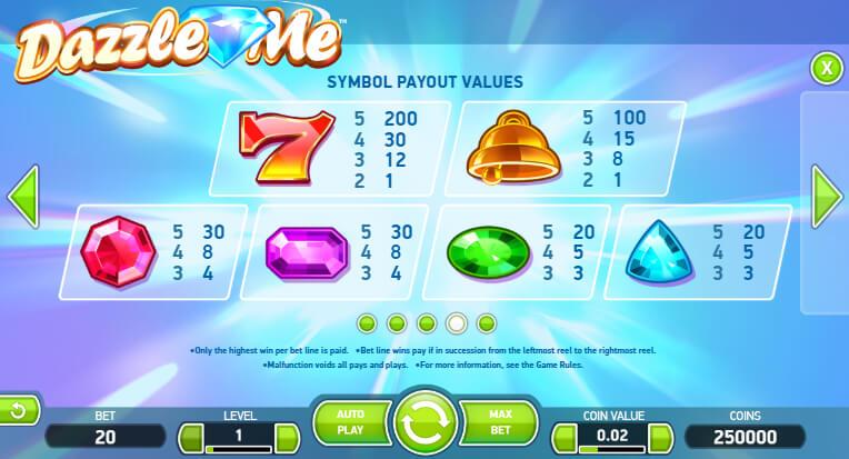 dazzle me slot paytable