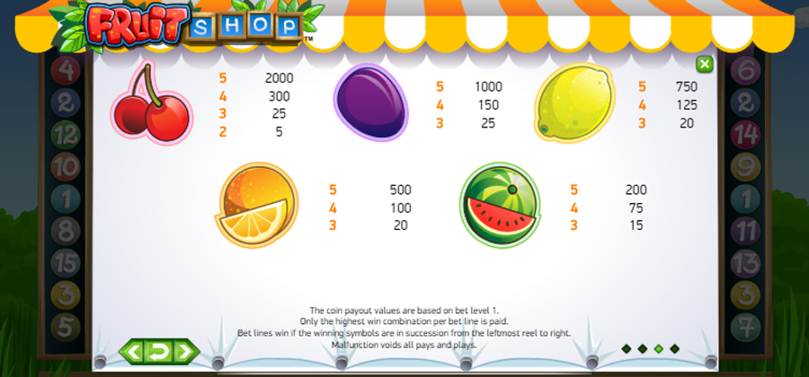 fruit shop slot paytable