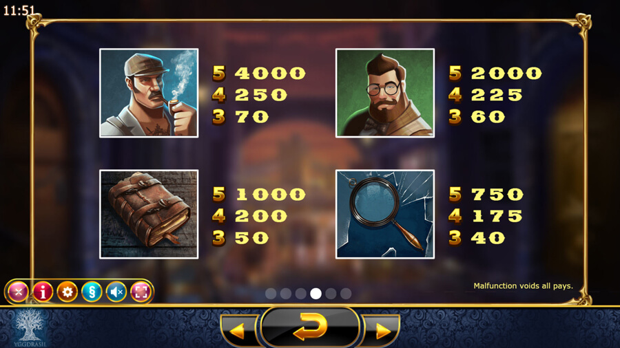 Holmes and the Stolen Stones slot paytable