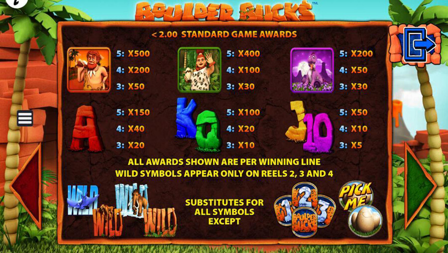 Boulder Bucks slot paytable