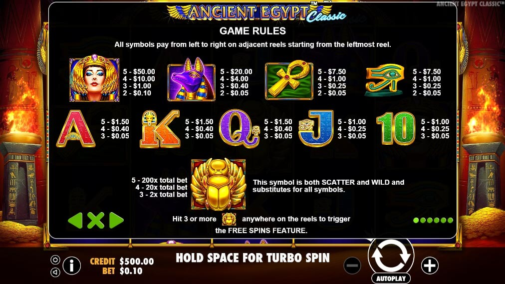 Ancient Egypt Classic slot paytable