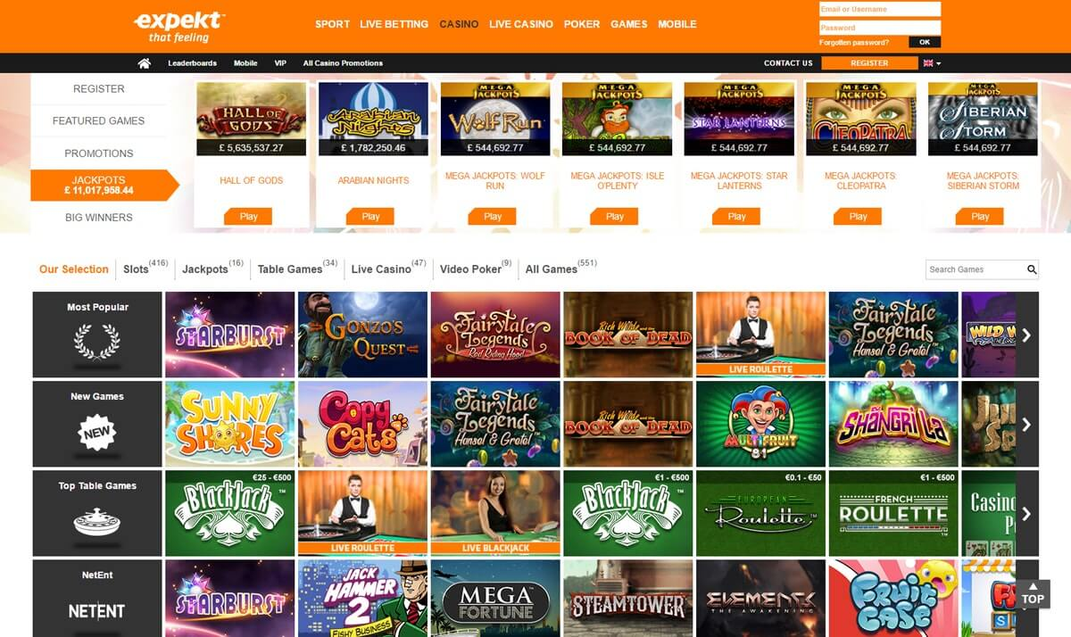 expekt casino slots