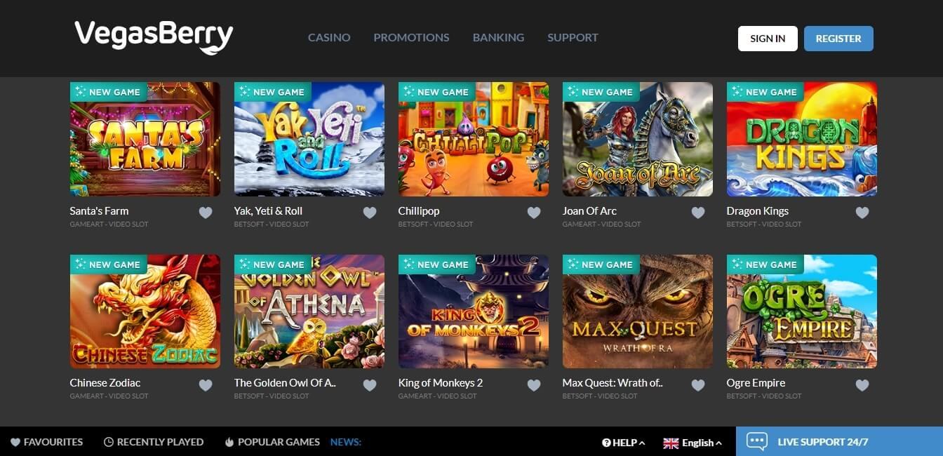 vegasberry casino slots