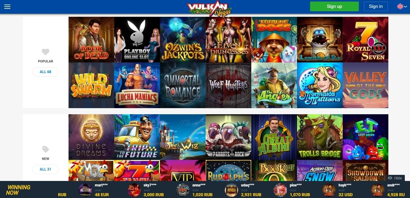 vulkanvegas casino slots