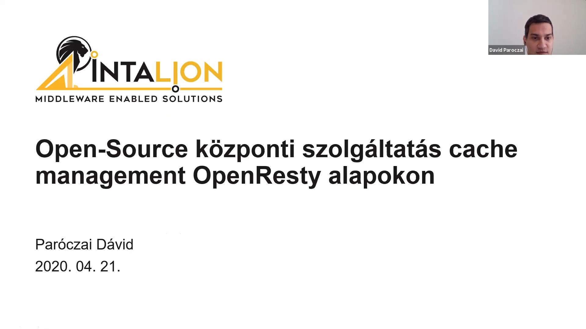 Open-Source központi szolgáltatás cache management OpenResty alapokon