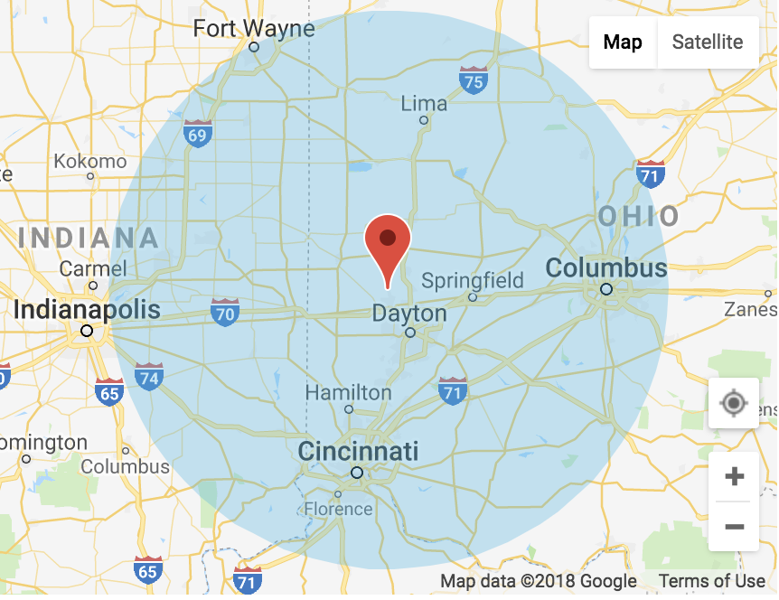 service areas for your1dayfloors floor coating service in ohio