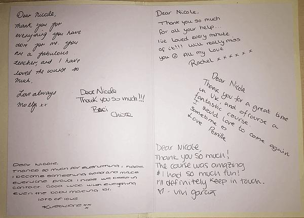 Class thank you card to IOCN teacher Nicole