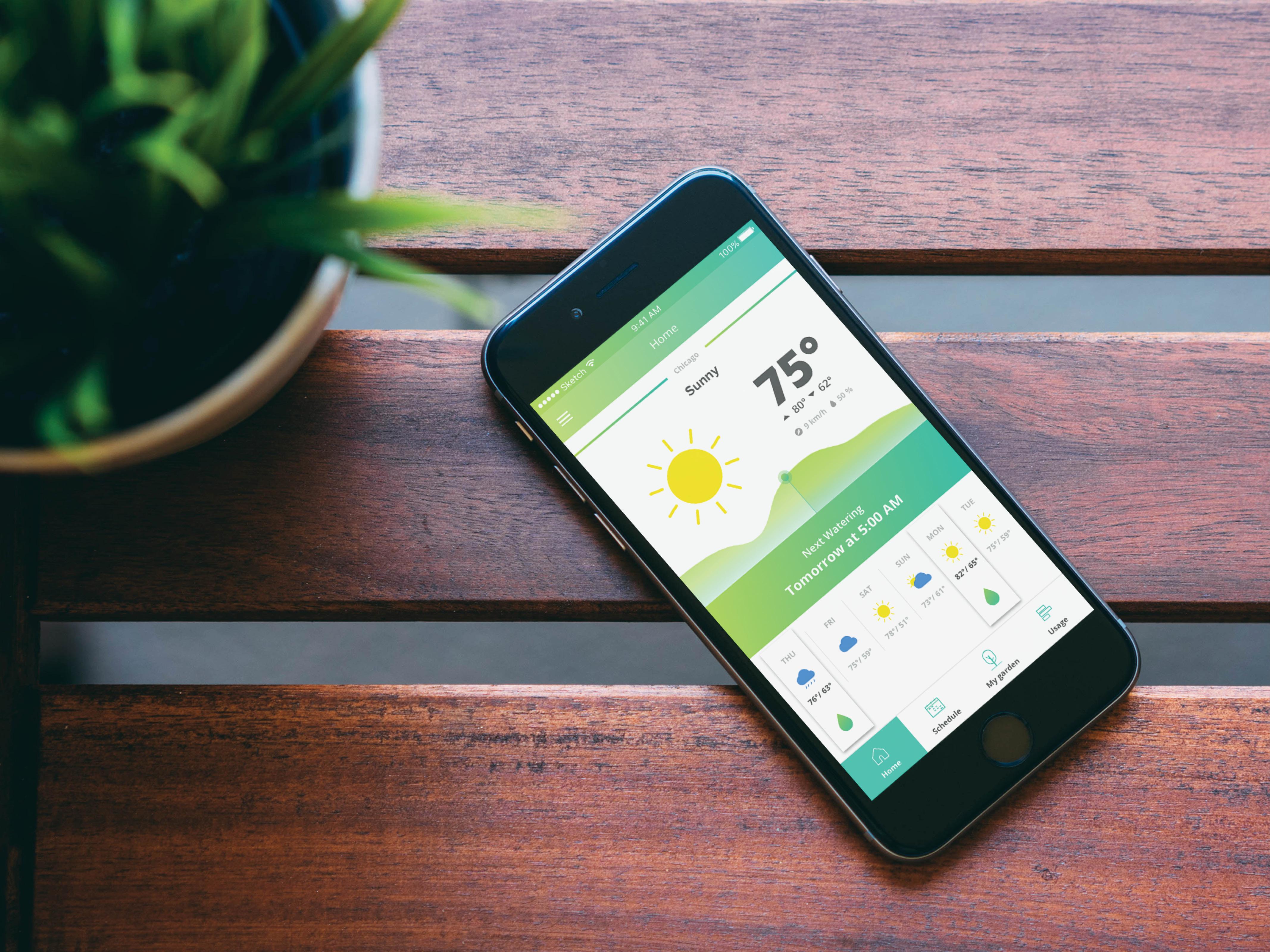 watering system app mobile design