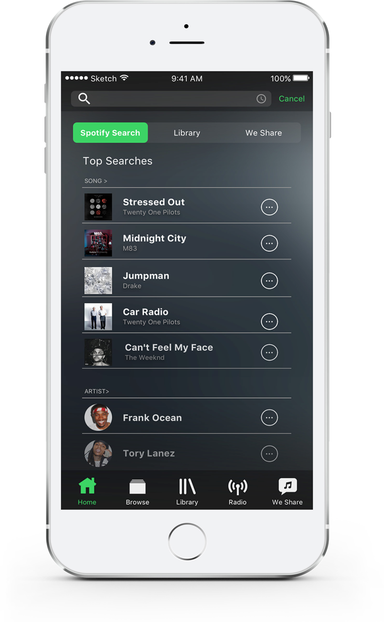 spotify search screen