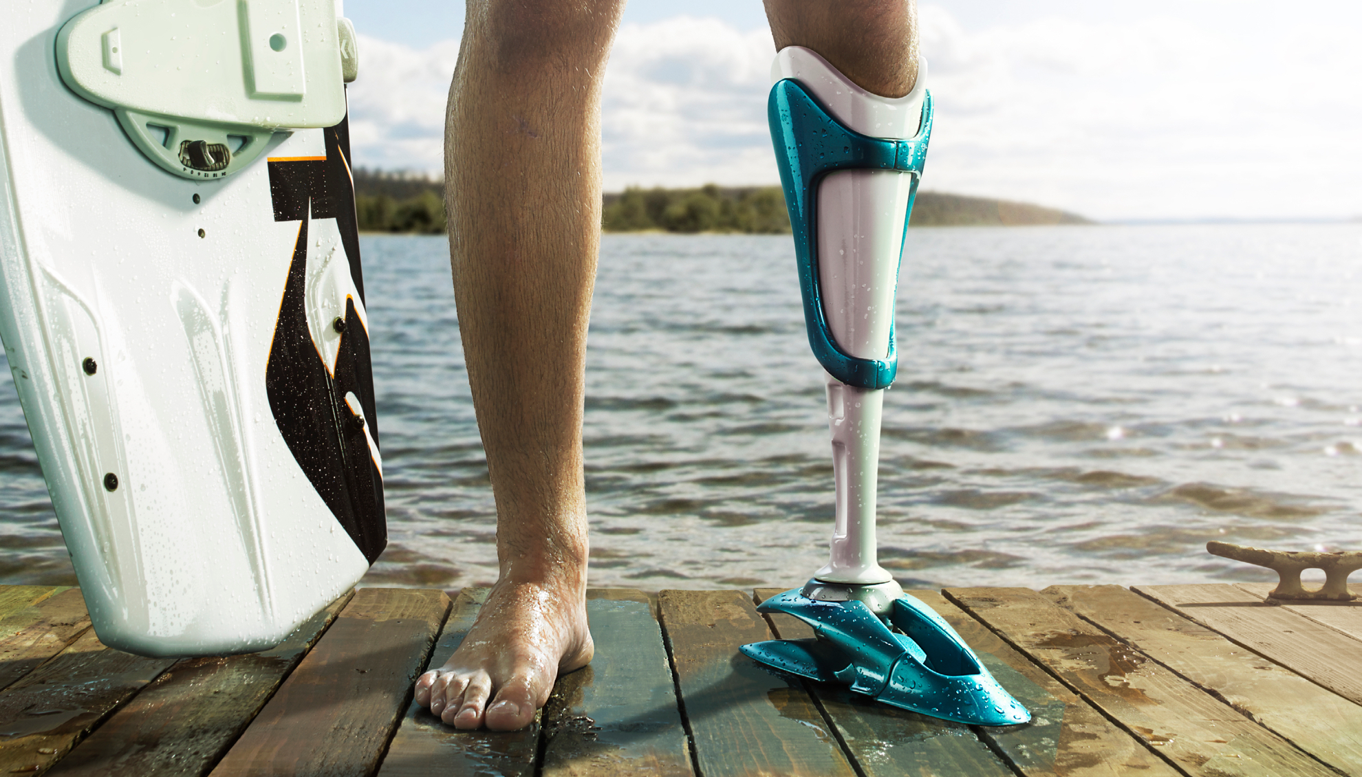 A prosthetic leg for amputee wakeboarder