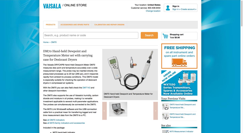 Current Vaisala online store product details