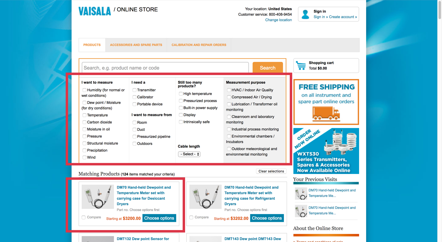 Current Vaisala online store product lists & filtering