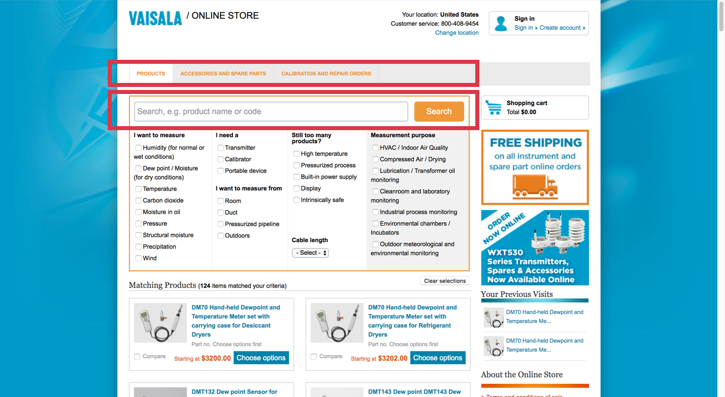 Current Vaisala online store home and category