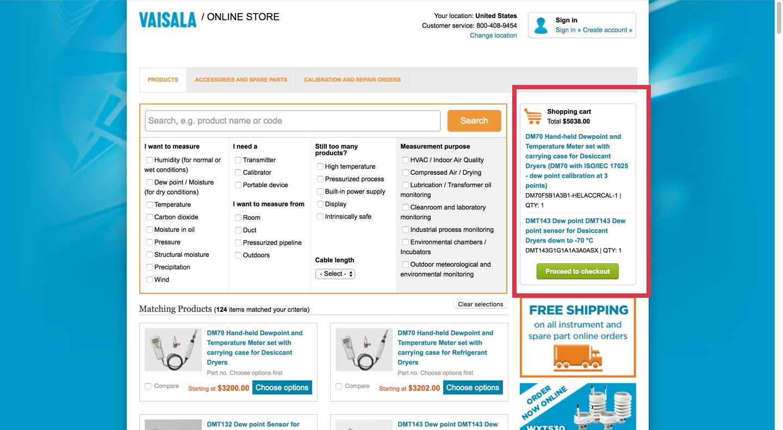 Vaisala online store current cart screen