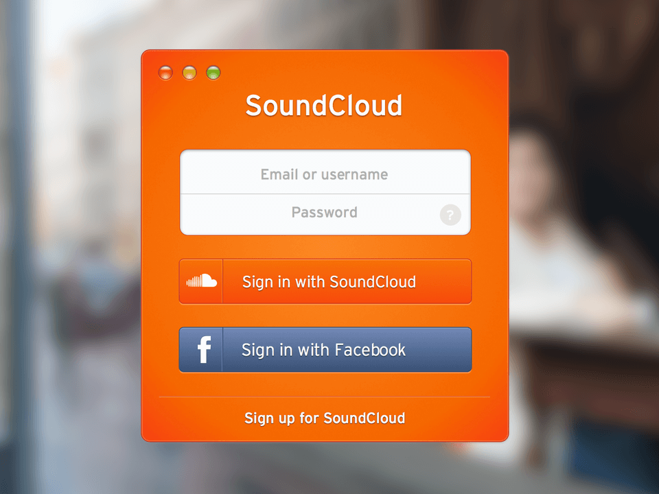 Sound Cloud Sign In UI Kit for Sketch