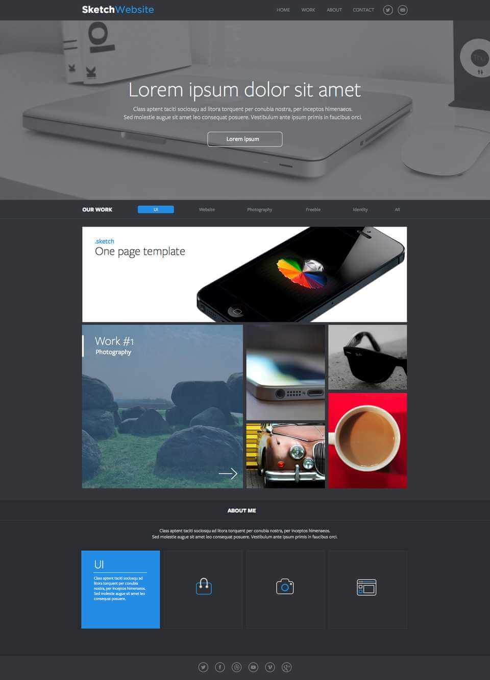 Easy One Page Layout Sketch UI Kit