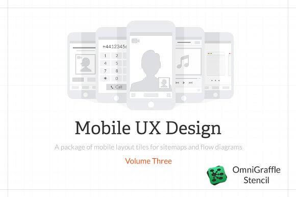 Mobile UX Design Tiles V3 Stencil Omnigraffle