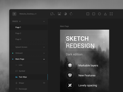 Sketch Dark UI Kit