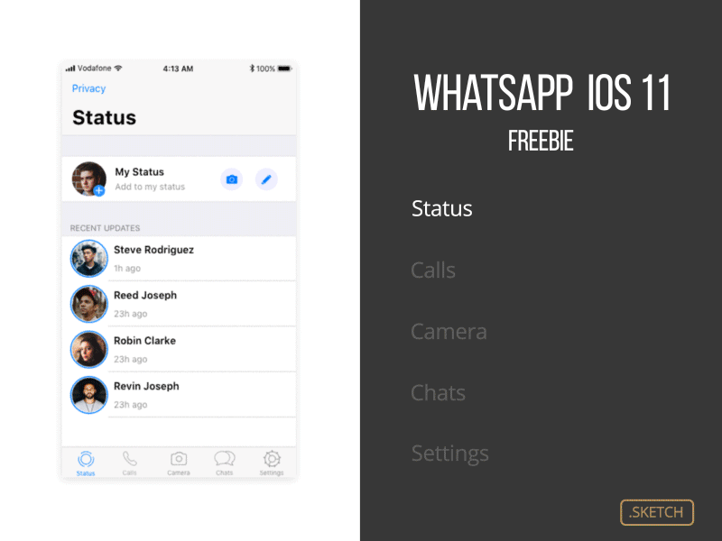 Whatsapp iOS 11 Sketch UI Kit