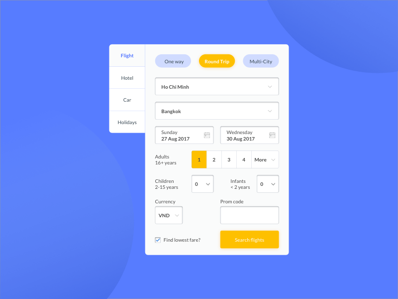 Flight Search Widget UI Kit for Sketch