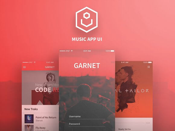 Garnet Music App UI Kit for Photoshop