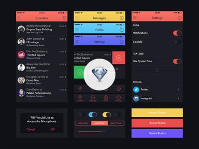 Sketch UI Kit for Marvel App