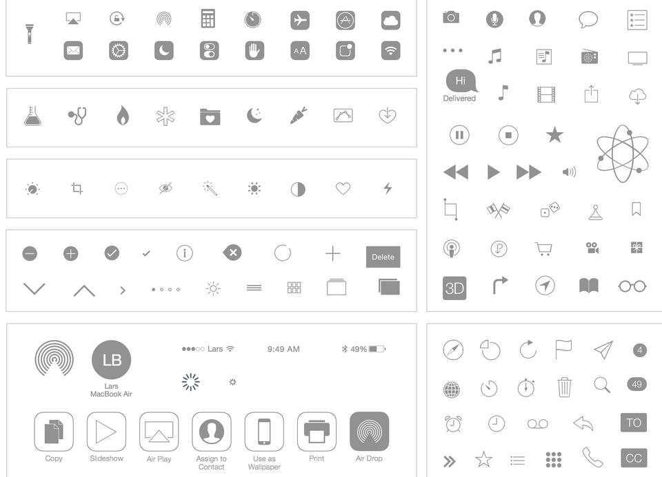Apple iOS 7 & 8 Icon UI Kit for Sketch
