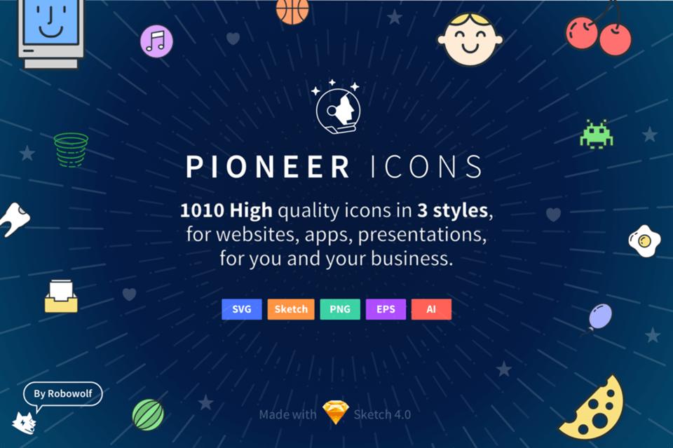 Pioneer icons Sketch UI Kit