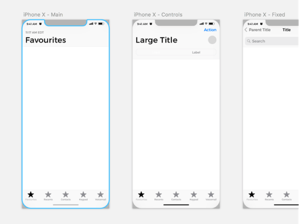 iPhone X Wireframe UK Kit for Sketch