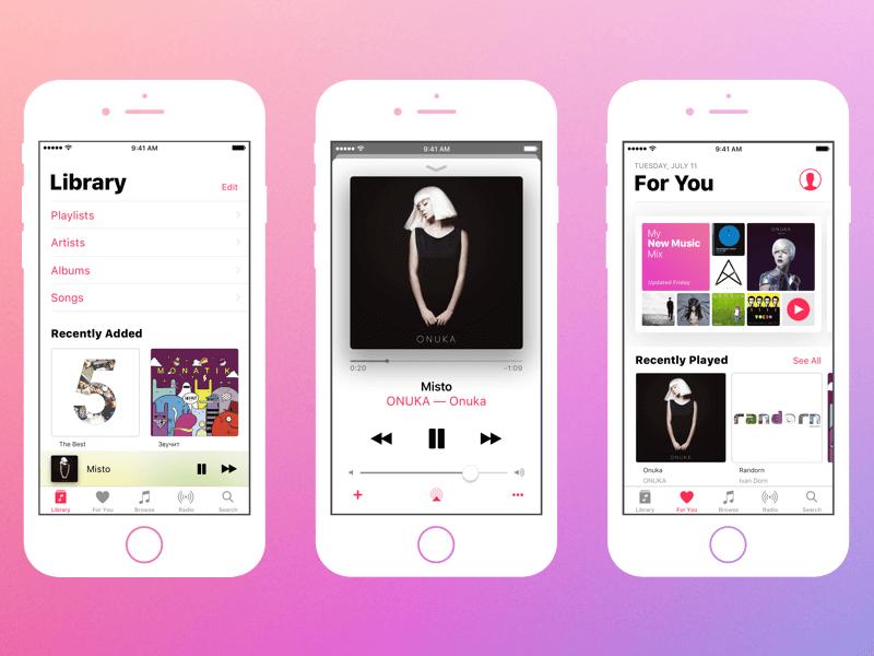 Apple Music App UI Kit for Sketch