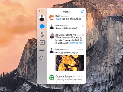 Twitter for OS X Yosemite Sketch UI Kit