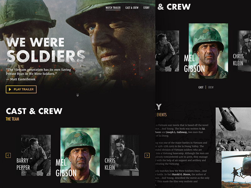 We Were Soldiers - Landing Page Sketch UI Kit