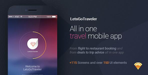 LetsGo Traveler All in One Travel Sketch UI Kit