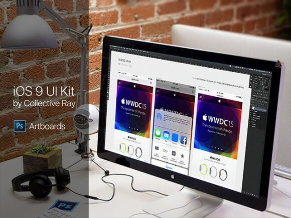 iOS 9 UI Kit - Artboards Photoshop