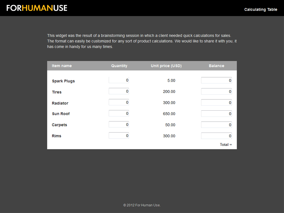 Axure Calculating Table