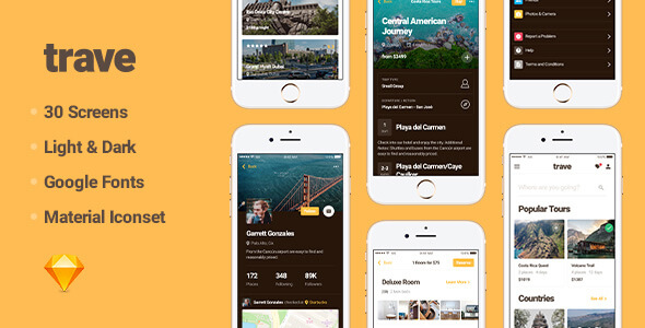 Trave UI Kit for Sketch