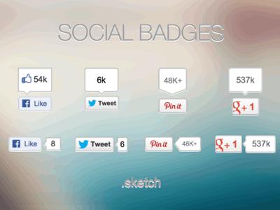Social badges for Sketch UI Kit