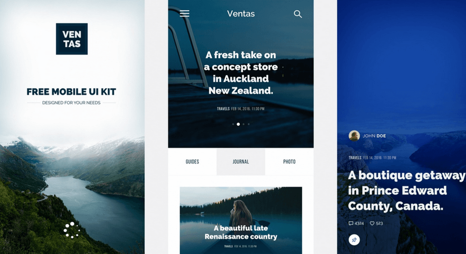 Ventas Mobile App Photoshop UI Kit