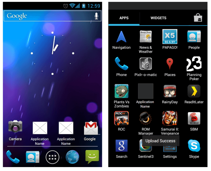 Andriod ice cream sandwich widget library